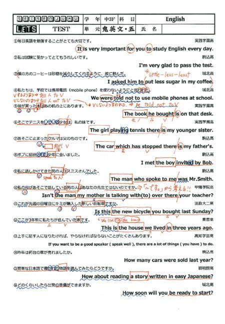 英語テスト例